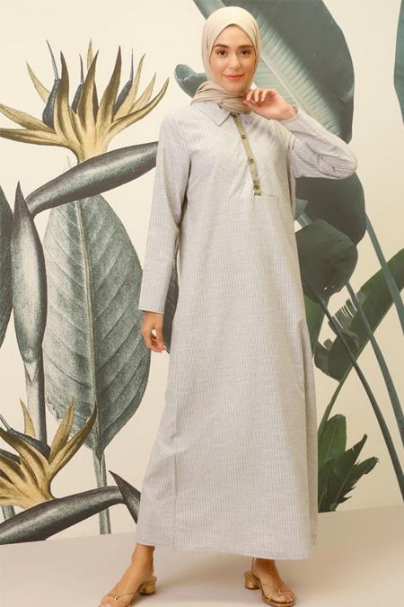 Mnatural Haki Doğal Kumaşlı Çizgili Gömlek Elbise