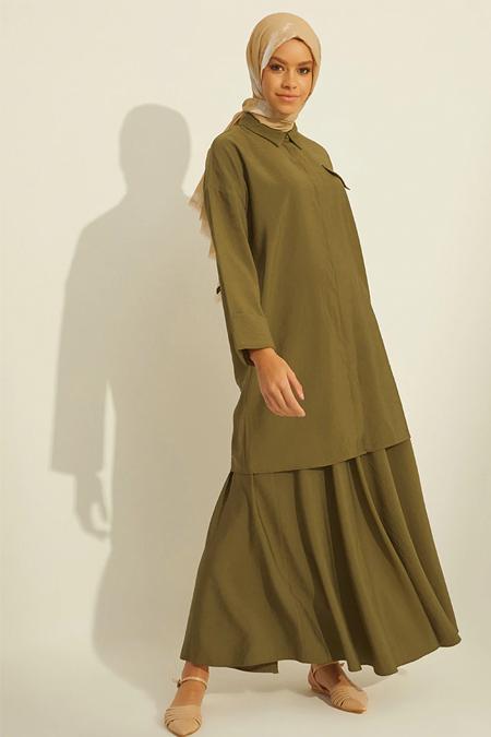 Mnatural Haki Doğal Kumaşlı Tunik & Etek İkili Takım