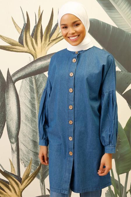 Mnatural Mavi Doğal Kumaşlı Düğmeli Tunik