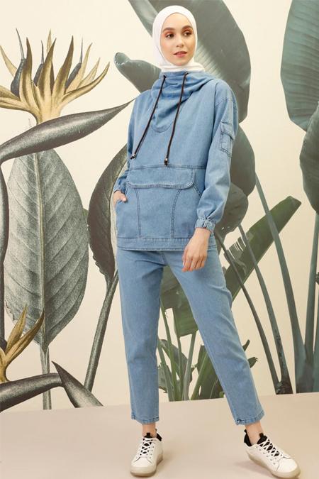 Mnatural Mavi Doğal Kumaşlı Kot Sweatshirt