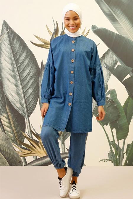 Mnatural Mavi Doğal Kumaşlı Tensel Pantolon