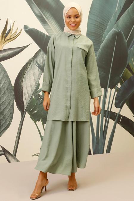 Mnatural Mint Doğal Kumaşlı Tunik & Etek İkili Takım