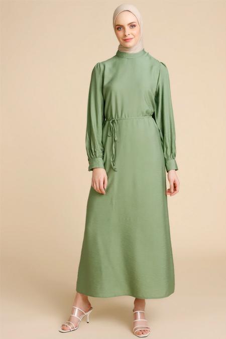 Mnatural Yeşil Beli Bağcıklı Elbise