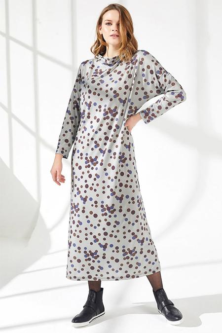 Nare Çok Renkli Desenli Elbise