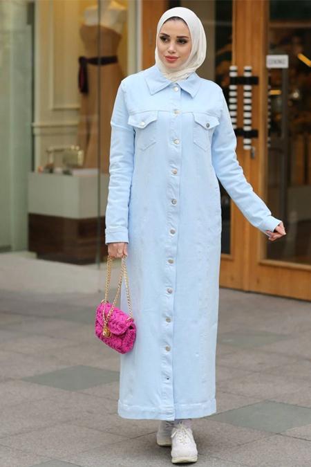 Neways Bebe Mavisi Boydan Düğmeli Uzun Kot Ceket