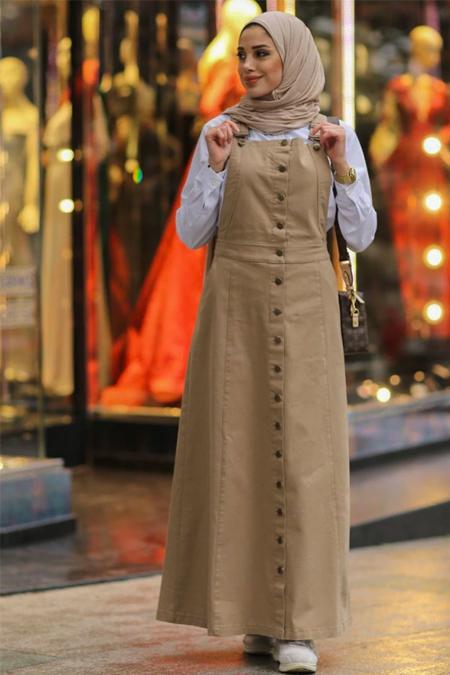 Neways Bej Salopet Elbise