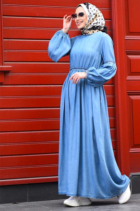 Neways Koyu Mavi Tensel Büzgülü Elbise