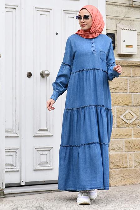 Neways Mavi Fırfırlı Tensel Elbise