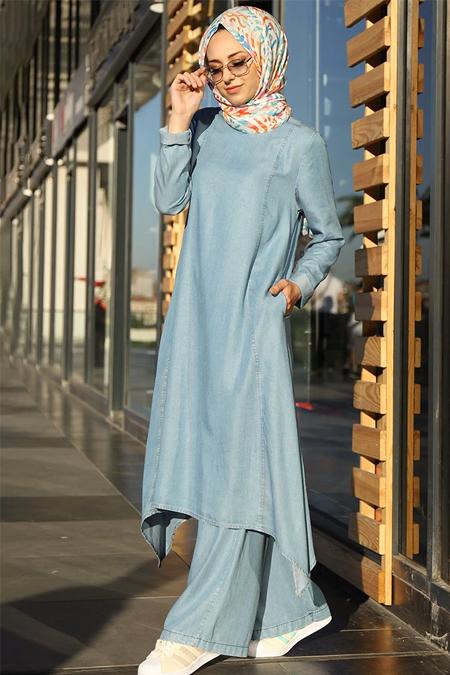 Neways Mavi Tensel Tunik & Pantolon İkili Kot Takım