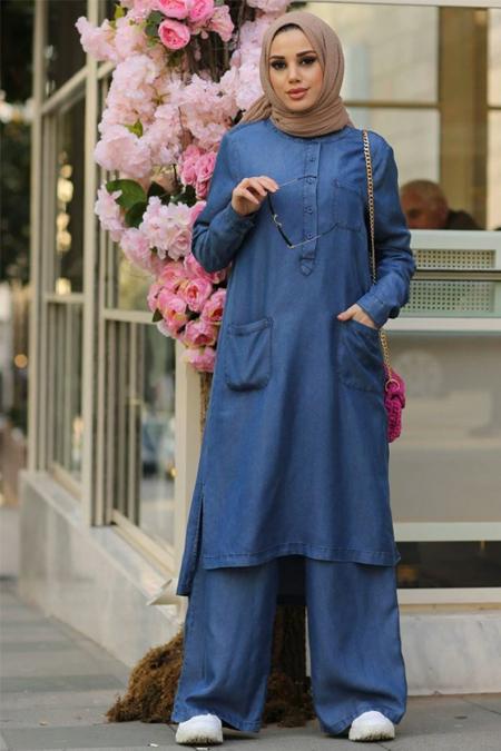 Neways Mavi Tunik & Pantolon Tensel Kot İkili Takım