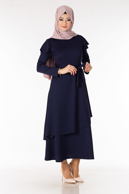 Omzu Volanlı Renk Tesettür Elbise