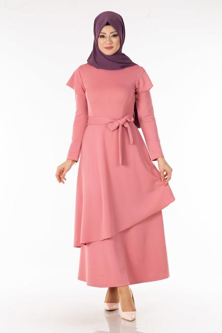 Pudra Omzu Volanlı Tesettür Elbise