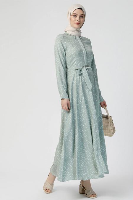 Refka Açık Yeşil Beyaz Doğal Kumaşlı Puantiyeli Elbise