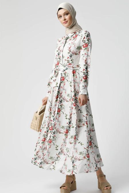 Refka Beyaz Kırmızı Doğal Kumaşlı Çiçek Desenli Elbise