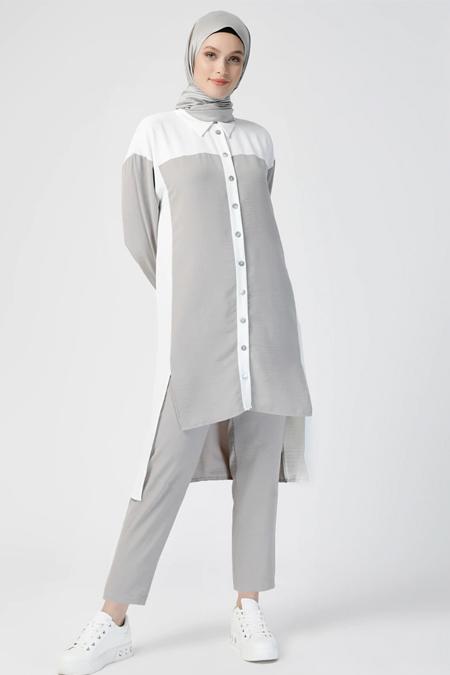 Refka Gri Beyaz Tunik & Pantolon İkili Takım