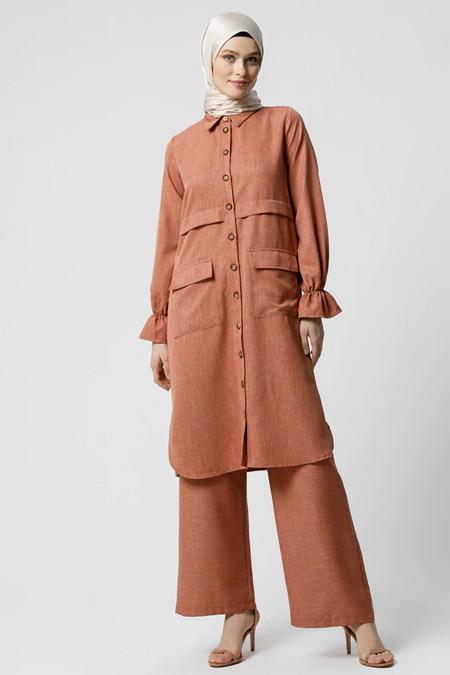 Refka Kiremit Pantolon & Tunik İkili Takım