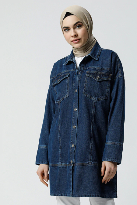 Refka Koyu Mavi Doğal Kumaşlı Kot Ceket