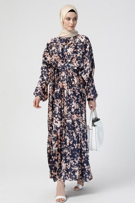 Refka Lacivert Çiçek Desenli Beli Lastikli Elbise
