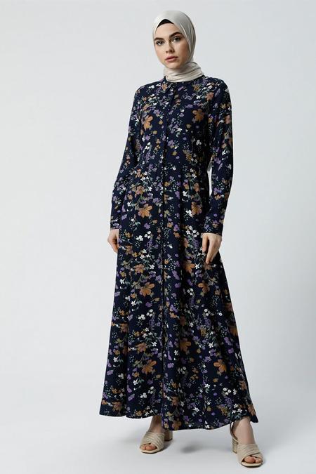 Refka Lacivert Doğal Kumaşlı Gizli Düğmeli Elbise