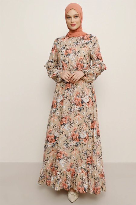 Refka Pudra Doğal Kumaşlı Çiçek Desenli Elbise