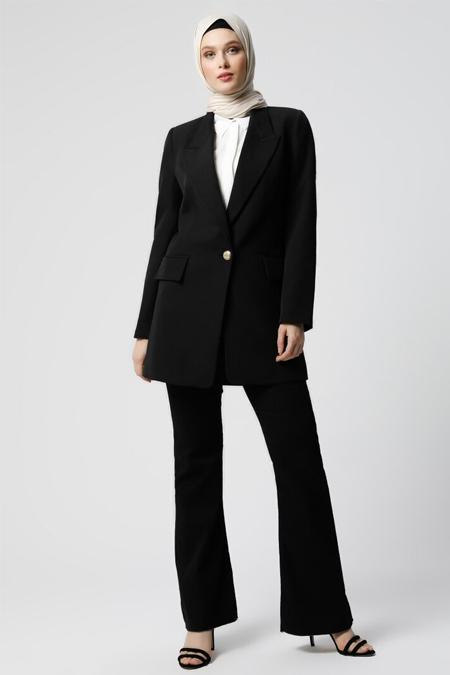 Refka Siyah Cep Detaylı Ceket