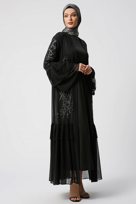 Refka Siyah Elbise & Ferace İkili Abiye Takım