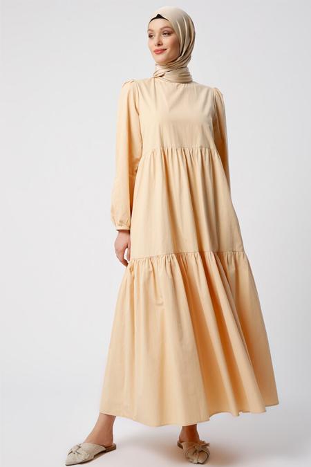 Refka Somon Doğal Kumaşlı Cep Detaylı Elbise