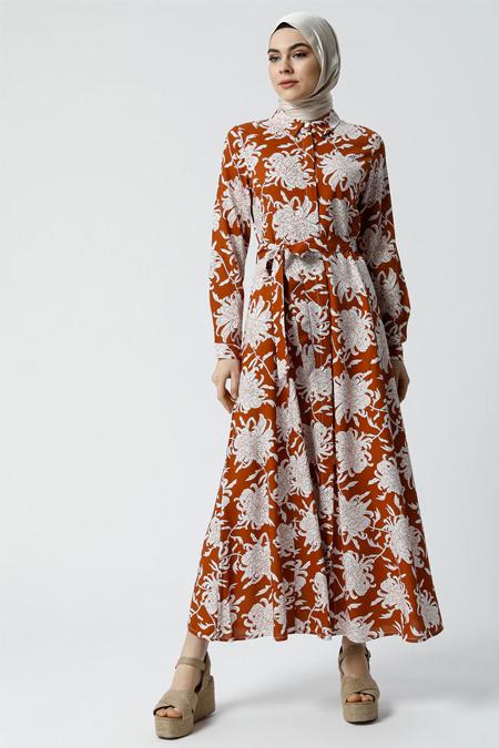 Refka Taba Doğal Kumaşlı Desenli Gömlek Elbise