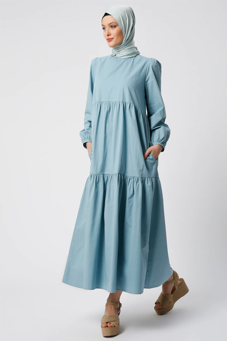 Refka Yeşil Doğal Kumaşlı Cep Detaylı Elbise