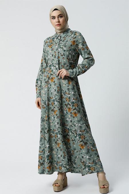Refka Yeşil Doğal Kumaşlı Gizli Düğmeli Elbise