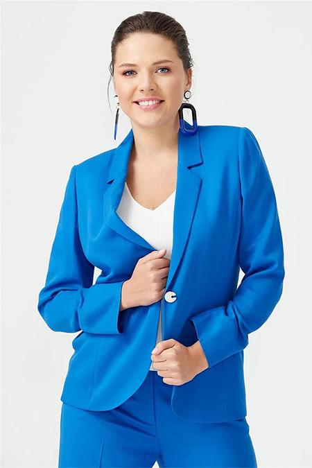 Seçil Mavi Fileto Cepli Tek Düğmeli Ceket