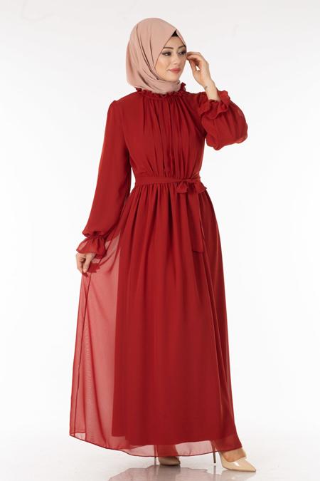 Şifon Kiremit Tesettür Elbise