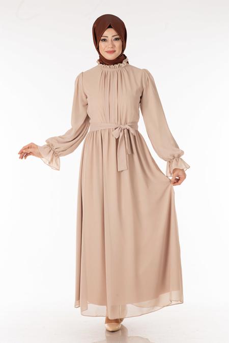 Şifon Krem Tesettür Elbise