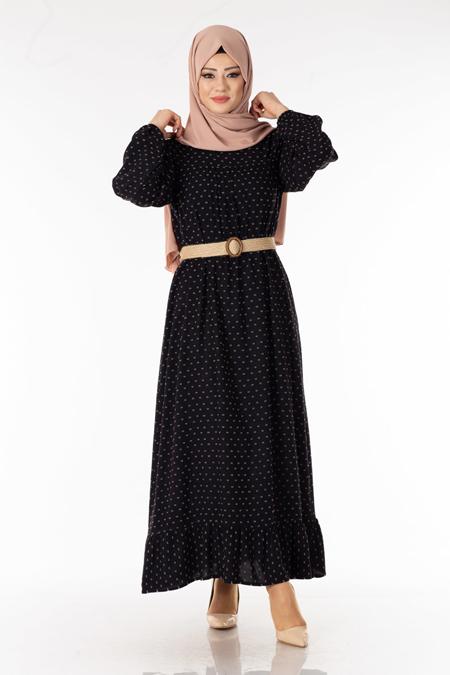 Siyah Desenli Kemerli Tesettür Elbise