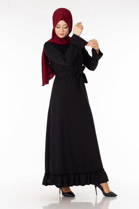Siyah Eteği Fırfırlı Tesettür Elbise