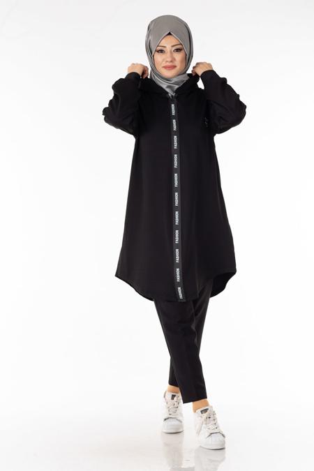 Siyah Fashion Şeritli Tesettür Kap
