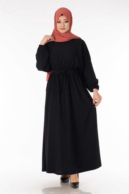 Siyah Kuşaklı Tesettür Elbise
