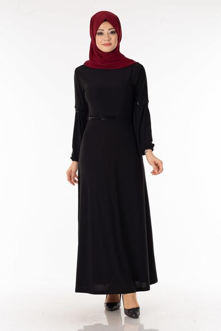Siyah Payet Şeritli Tesettür Elbise