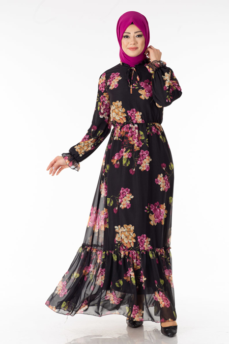 Siyah Pembe Çiçekli Şifon Elbise