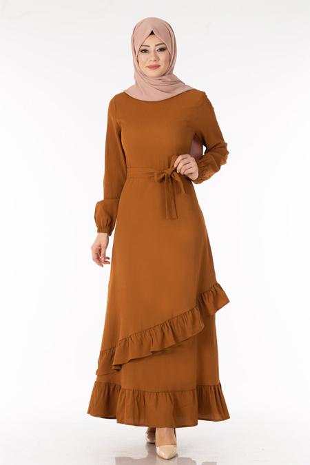 Taba Eteği Fırfırlı Tesettür Elbise
