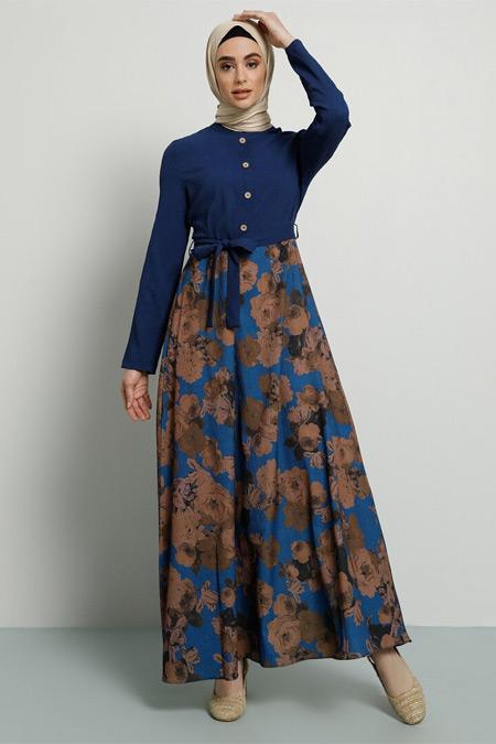 Tavin İndigo Çiçekli Elbise