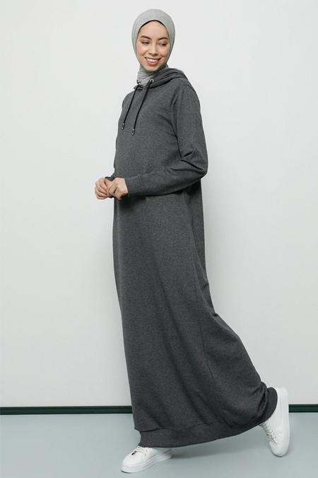 Tavin Gri Kapüşonlu Spor Elbise