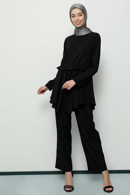 Tavin Siyah Volanlı Tunik & Pantolon İkili Takım