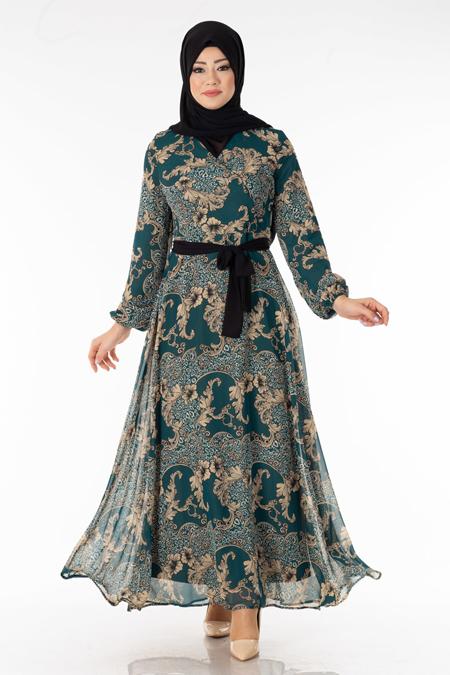Zümrüt Çiçek Desen Şifon Elbise