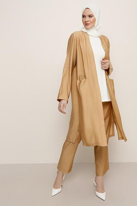 Alia Camel Kap&Pantolon İkili Takım
