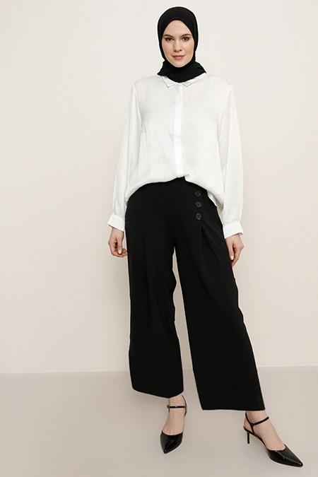 Alia Siyah Düğme Detaylı Pantolon
