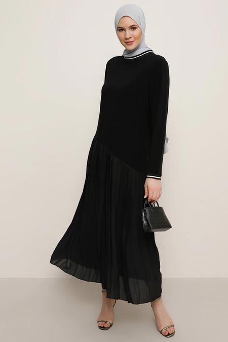 Alia Siyah Gri Sim Detaylı Piliseli Elbise