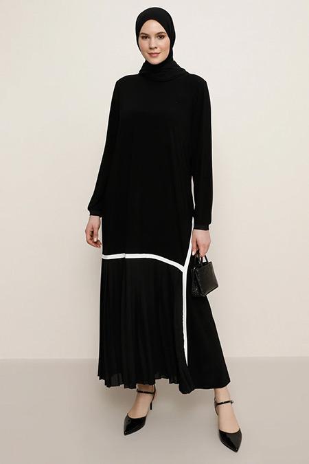 Alia Siyah Plise Detaylı Elbise