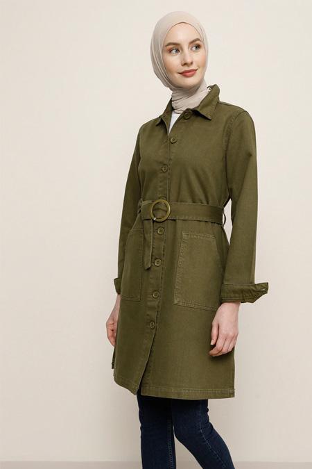 Benin Açık Haki Doğal Kumaşlı Boydan Düğmeli Kot Ceket