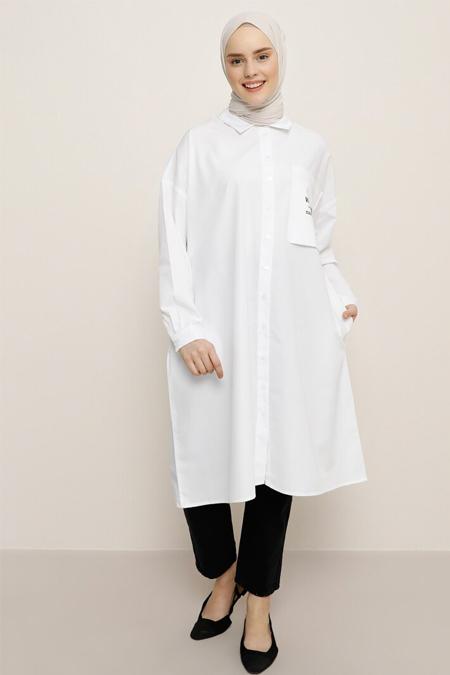 Benin Beyaz Cep Detaylı Tunik